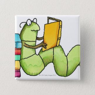 Bookworm 15 Cm Square Badge