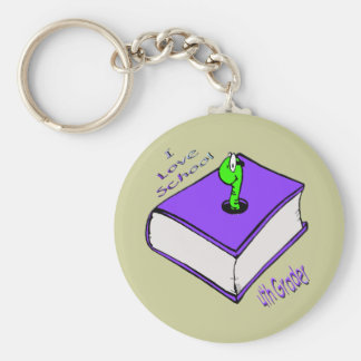 Bookworm 4th Grader - I love School Keychains
