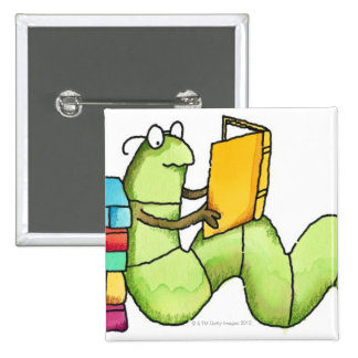 Bookworm Pinback Button