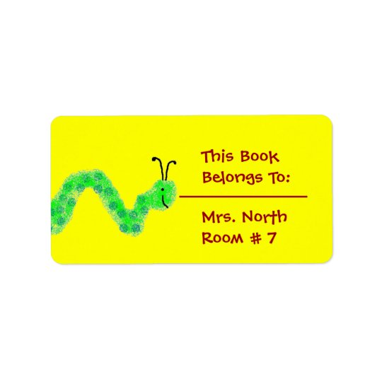 Bookworm Book Plate Label