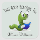 Bookworm Book Plate with Custom Name Square Sticker