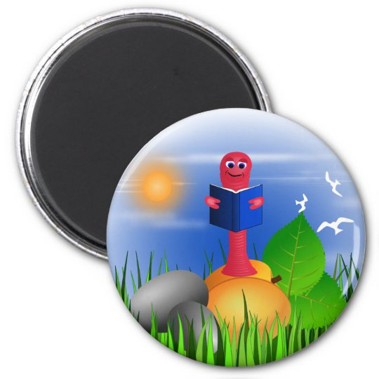Bookworm Book Worm Colourful Cute Round Magnet