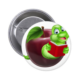 Bookworm concept 6 cm round badge