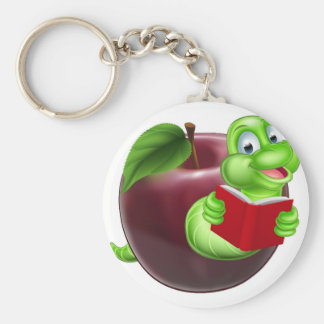 Bookworm concept basic round button key ring