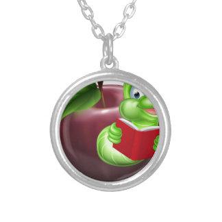 Bookworm concept round pendant necklace