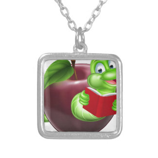 Bookworm concept silver plated necklace