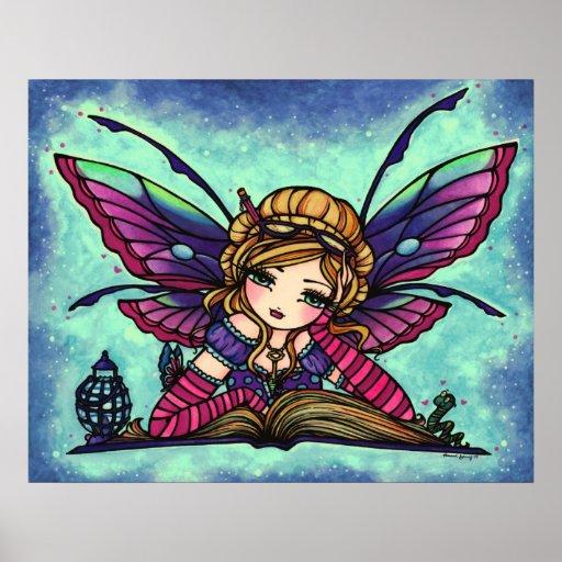 Bookworm Fairy Library Fantasy Art by Hannah Lynn Posters