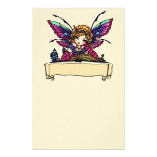 Bookworm Fairy Library Fantasy Art by Hannah Lynn Stationery Design
