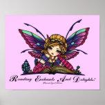 "Bookworm Fairy ""READ"" Library Fantasy Book Art Poster"
