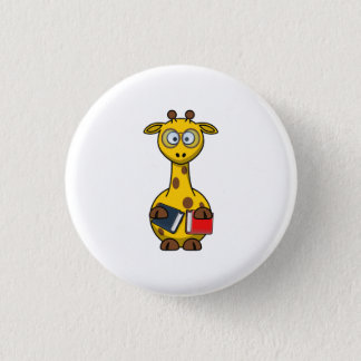 Bookworm Giraffe Art 3 Cm Round Badge