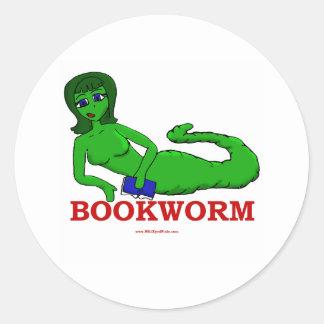 Bookworm Girl Round Sticker