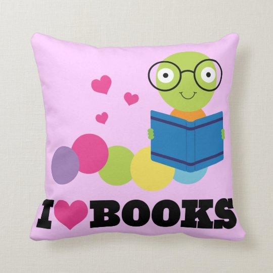 Bookworm I Heart Books Throw Pillow