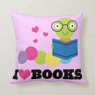 Bookworm I Heart Books Throw Pillow Throw Cushions