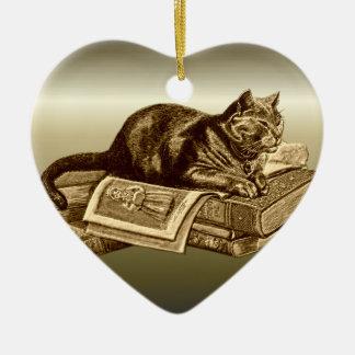 Bookworm Kitty Cat Reading Books Ceramic Heart Decoration