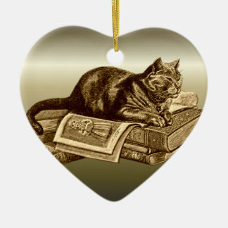 Bookworm Kitty Cat Reading Books Christmas Ornament