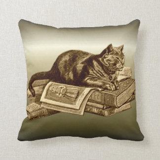 Bookworm Kitty Cat Reading Books Pillow