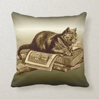 Bookworm Kitty Cat Reading Books Throw Pillow