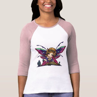 Bookworm Library Fairy Fantasy Art T-Shirt