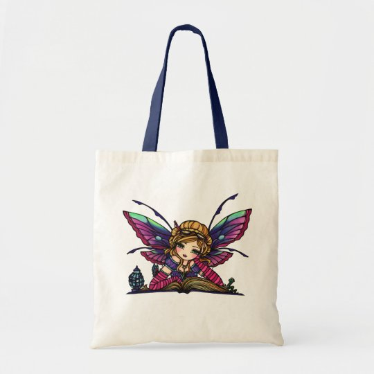 Bookworm Library Reading Book Fairy Fantasy Art Tote