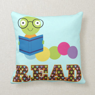 Bookworm Read book quote Throw Pillow Cushions
