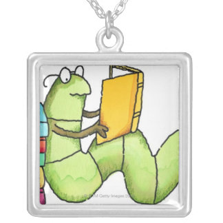 Bookworm Silver Plated Necklace