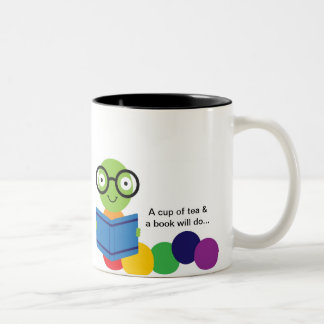 Bookworm & Tea Two-Tone Coffee Mug