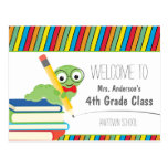 Bookworm Welcome Back To School colorful Postcards