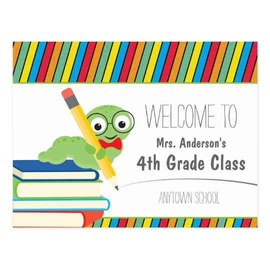 Bookworm Welcome Back To School colourful Postcard