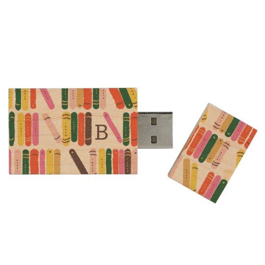 Bookworm Wood USB Flash Drive