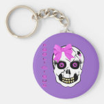 Boolicious Girl Scull Basic Round Button Key Ring