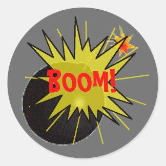 Boom Bomb Round Sticker