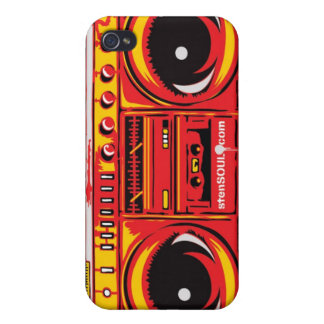 Boom Box EYEPhone 4 Case RED iPhone 4 Case