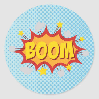 BOOM comic book sound effect Classic Round Sticker