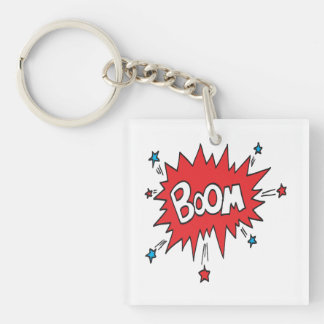 Boom Double-Sided Square Acrylic Key Ring