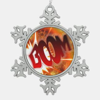 Boom! Snowflake Pewter Christmas Ornament