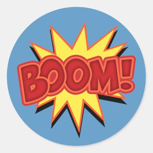 Boom! Round Stickers
