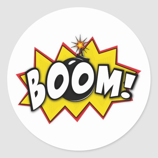 Boom Superhero Comic Action Words Classic Round Sticker