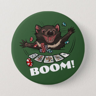 Boom! Tasmanian Devil Royal Flush Poker Cartoon 7.5 Cm Round Badge