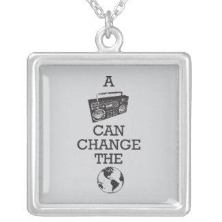 Boombox Can Change the World Square Pendant Necklace