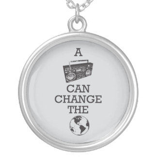 Boombox Can Change the World Silver Plated Necklace