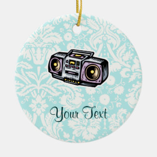 Boombox; Cute Double-Sided Ceramic Round Christmas Ornament