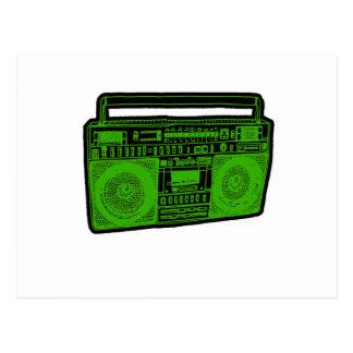 boombox ghetto blaster radio postcard
