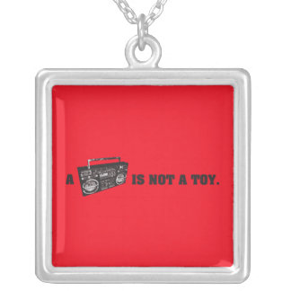 Boombox Is Not a Toy Square Pendant Necklace