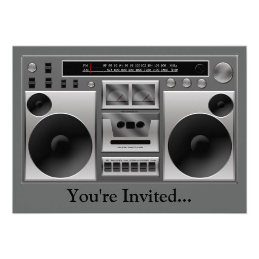 Boombox Radio Graphic Invites