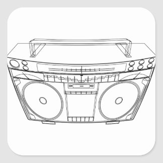 boombox square sticker