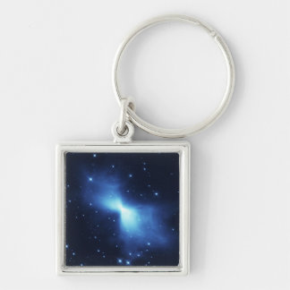 Boomerang nebula in space Silver-Colored square key ring