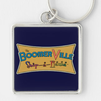 Boomerville Shop-a-Rama Logo Gear Silver-Colored Square Key Ring