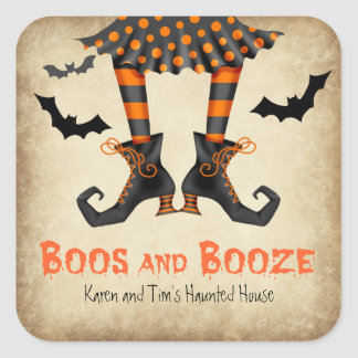 Boos and Booze Adult Halloween Party Square Sticker