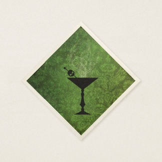 Boos and Booze Halloween Green Paper Napkins Disposable Serviette