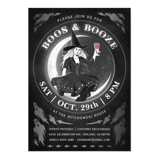Boos & Booze Halloween Invitations | Black &